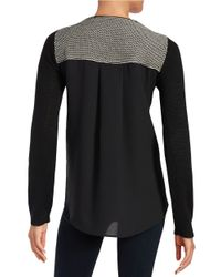 T Tahari | Gray Mixed Media Sweater | Lyst