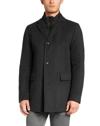 BOSS Gray Wool-blend Outdoor Jacket: 'coant' for men