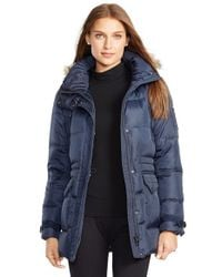 Lauren by Ralph Lauren - Blue Faux Fur Trim Down & Feather Fill Parka - Lyst
