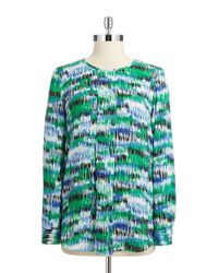 Vince Camuto - Green Patterned Pleated Blouse - Lyst