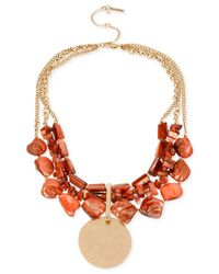 Kenneth Cole - Orange Gold-tone Mixed Shell Bead Multi-row Necklace - Lyst