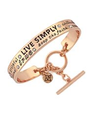 BCBGeneration | Metallic Engraved Live Simply Toggle Bracelet | Lyst