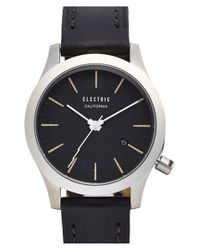 Electric | Metallic Round Leather Strap Watch | Lyst