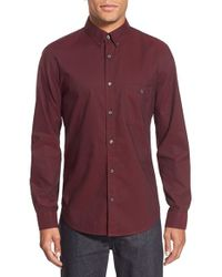 7 For All Mankind | Red Trim Fit Long Sleeve Oxford Sport Shirt for Men | Lyst