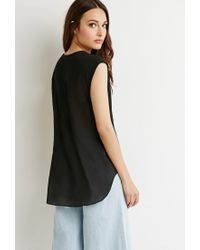 Forever 21 | Black Contemporary Crepe Popover Blouse | Lyst