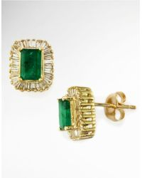 Effy | Green Brasilica Emerald, Diamond And 14k Yellow Gold Stud Earrings | Lyst