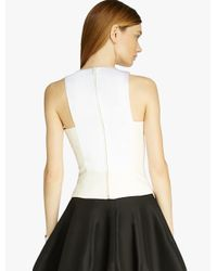 Halston - White Silk Faille Top - Lyst