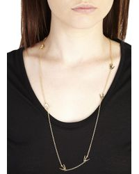 McQ - Metallic Gold Tone Swallow Necklace - Lyst