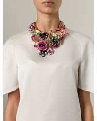 Night Market - Multicolor Floral Bib Necklace - Lyst
