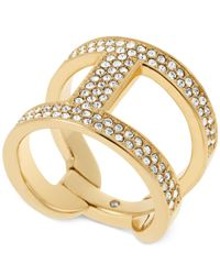 Michael Kors | Metallic Gold-Tone And Clear Stone H Ring | Lyst