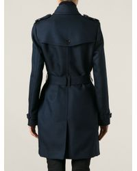 Burberry - Blue Belted Trench Coat - Lyst