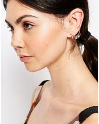 ASOS - Pink Rose Gold Plated Sterling Silver Fringe Ear Cuff - Lyst