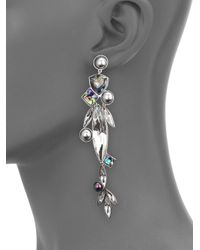 Ca&Lou | Metallic Tea Crystal & Faux Pearl Clip-on Single Drop Earring | Lyst