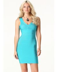 Bebe - Blue V-neck Bandage Dress - Lyst