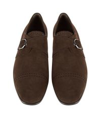 Tod's - Brown Punched Suede Monk Shoe for Men - Lyst