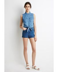 Forever 21 - Blue Knotted Denim Shirt - Lyst