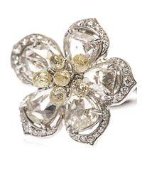 NSR Nina Runsdorf - Metallic Diamond & Yellow-Gold Flower Ring - Lyst