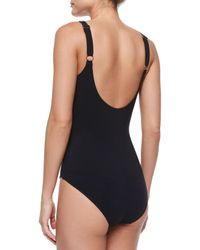 Gottex - Black Two-Tone Wrap Swimsuit - Lyst