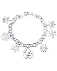 Disney - Metallic Frozen Snowflake Charm Bracelet In Sterling Silver - Lyst