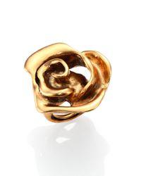 Oscar de la Renta - Metallic Rose Cocktail Ring - Lyst