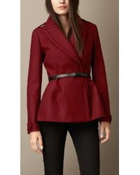 Burberry | Red Double Wool Twill Feminine Pea Coat | Lyst