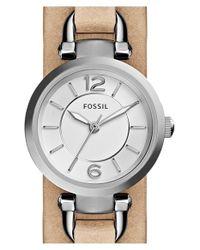 Fossil - Metallic 'georgia' Round Leather Cuff Watch - Lyst