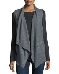 Neiman Marcus - Gray Sleeveless Draped Cashmere Vest - Lyst