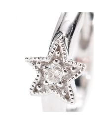 Stone - Metallic Mini Créole Tiny Hoop Small Star 18kt White Gold Earring with White Diamond - Lyst