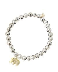 Sydney Evan - Metallic 6Mm Faceted Silver Pyrite Beaded Bracelet With 14K Gold/Diamond Small Elephant Charm (Made To Order) - Lyst