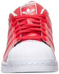 Adidas Red Men's Originals Kzk Superstar Leather Casual Sneakers From Finish Line for men