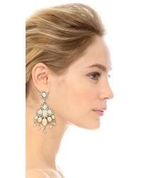 Oscar de la Renta - White Cabochon Chandelier Earrings - Ivory/Silver - Lyst