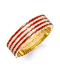 kate spade new york | Red New York Goldtone Rosy Dawn and Maraschino Striped No Strings Attached Idiom Hinged Bangle Bracelet | Lyst