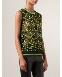 MSGM - Green Embroidered Lace Tank Top - Lyst