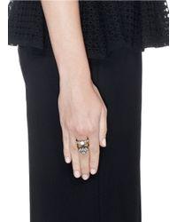 Iosselliani - Metallic Floral Stud Zircon Stacked Ring - Lyst