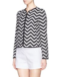 Armani - Black Chevron Cotton Blend Tweed Jacket - Lyst