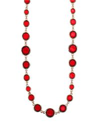 Anne Klein - Red Faceted Stone Long Necklace - Lyst
