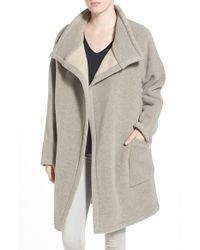 James Perse - Natural Funnel Neck Coat - Lyst
