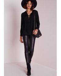 Missguided | Lace Up Shirt Black | Lyst