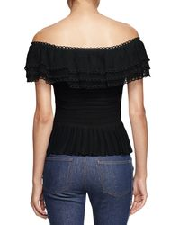 Alexander McQueen - Black Off-the-shoulder Ruffle-knit Top - Lyst