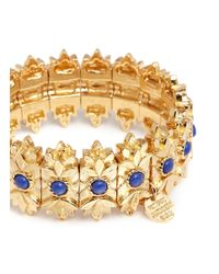 Philippe Audibert - Metallic 'cocopa' Floral Engraved Stone Elastic Bracelet - Lyst