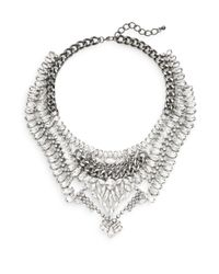 Cara Couture | Metallic Multi-row Statement Necklace/silvertone | Lyst