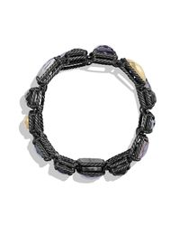 David Yurman - Metallic Bracelet With 18k Gold Dome And Black Diamonds - Lyst
