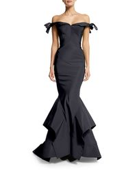 Zac Posen - Blue Off-the-shoulder Bow-detailed Gown - Lyst