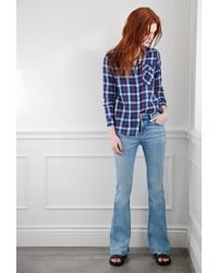 Forever 21 - Blue Tartan Plaid Shirt - Lyst