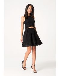 Bebe - Black Applique Flower Skirt - Lyst