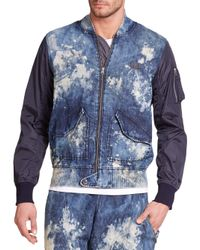 PRPS - Blue Auriga Bleached Denim & Nylon Bomber Jacket for Men - Lyst