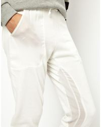 ASOS - White Sweatpants in Slim Fit with Sheer Panel - Lyst