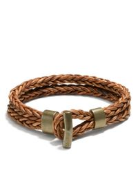 COACH - Brown Philip Crangi Double Braid Toggle Bracelet for Men - Lyst