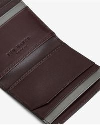 Ted Baker | Black Striped Leather Bi-fold Wallet for Men | Lyst