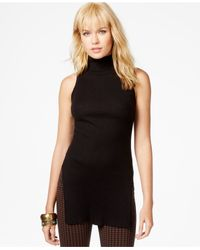 Sanctuary - Black Ribbed Turtleneck Tunic - Lyst